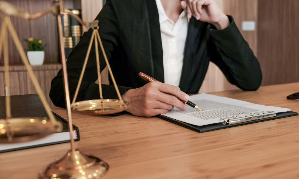 person working through uncontested divorce hearing
