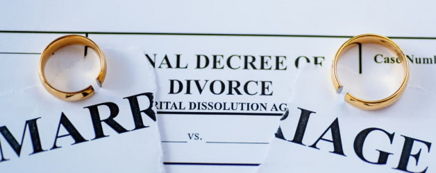 divorce papers with rings